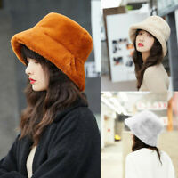Women Winter Bucket Hat Cute Warm Faux Fur Cap Hunting Fishing Solid Daily Hat