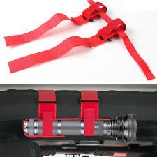 Roll Bar Mount Mag Flashlight Holder Straps-Red fits Jeep Wrangler YJ TJ JK JL