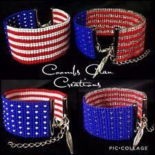 Native American Red Silver & Blue Loom Beaded Adjustable USA Flag Bracelet