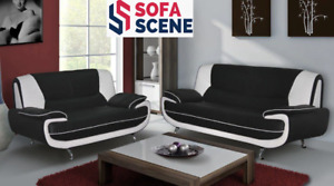 NEW PALERMO NAPOLI KAROL OLAF 3 2 SEATER SOFA BLACK /  WHITE - FAST DELIVERY