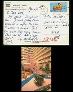 Mayfairstamps Hong Kong 1991 Royal Garden Hotel to Us Airmail Postcard wwp79227