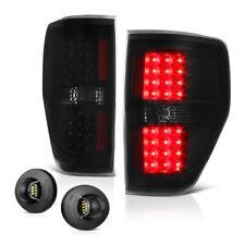 """DARK BLACK"" 09-14 Ford F150 Smoke LED Pair Tail Lamp Bright License Plate Light"