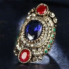 Turkish Jewelry Crystal Resin Wedding Ring Blue Sapphire Antique Gold Plated