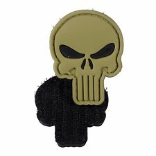 PVC Morale Patch Punisher Light Tan 3D Badge Hook #10 Paintball Airsoft