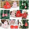 10PCS Wooden Christmas Tree Hanging Ornament DIY Xmas Pendants Gifts Decorations