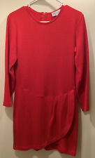 Vintage Bloomingdales Little RED Dress Tulip Hem M 100% Wool EUC