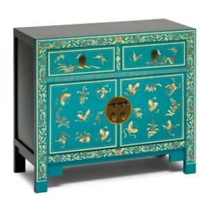 Made to Order Golden Dragon Oriental Painted Solid Wood Blue and Gold Sideboard