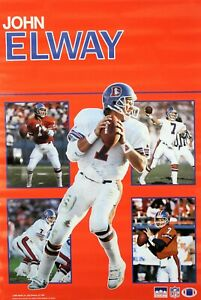 Vintage 34 x 22 JOHN ELWAY 1989 Denver Broncos NFL Collage Starline Poster