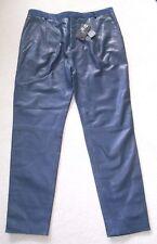 Joseph Ladies Dark Blue Soft Leather Trousers - Size L