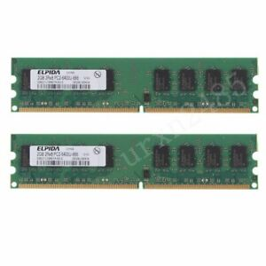 4GB 2x 2GB 800MHz DDR2 PC2-6400U DIMM Desktop Upgrade PC Memory SDRAM ELPIDA BT