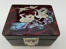Jewelry Trinket Box Mirror- Inlaid Mother-of-Pearl  Wooden Birds Turtle Clasp