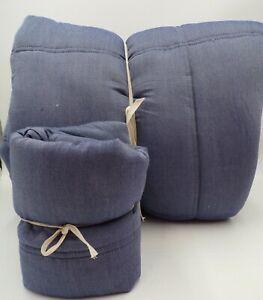 Pottery Barn Puffy Plaid Comforter Twin XL w/ 1 Standard Sham Faded Navy #6245A