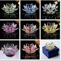 Candle Tea Light Crystal Glass Holder Lotus Flower with Spin system & Gift Box