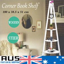 5 Tier Wooden Corner Ladder Bookshelf Storage Cabinet Bookcase Stand Shelf Rack