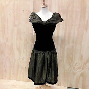 Laura Ashley velvet & taffeta evening dress black & bronze small size 10
