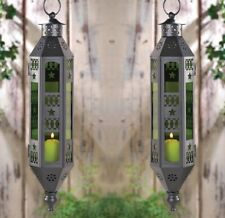 "2 Exotic Moroccan Style Serenity Hanging Lanterns Emerald Green 17"" High"