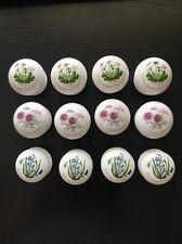 Lot of 12 Ceramic Round Knob Cabinet Door Drawer Dresser Pull Handle Floral