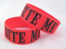 "One Brand New ""Bite Me"" Red 1"" Wide Silicone Bracelet #001"
