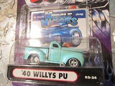 '40 WILLYS pickup Muscle Machine hood scoop street rod lt GREEN funline1:64