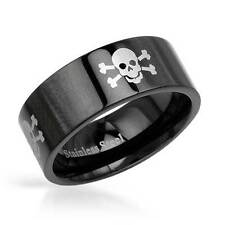 Skull and Bones Gentlemens Band Ring in Black Stainless steel Size 8