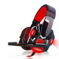UK Hot Stereo Gaming Headset Headband Headphone USB 3.5mm LED with Mic for PC