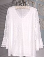 NEW Plus Size 1X White Lace Crochet Blouse Overlay Top Shirt