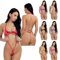 Women's  Sexy Lingerie Sleepwear Wet Look Teddy Thong Bikini Bodysuit Underwear