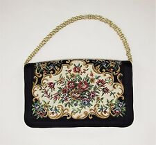 "Vintage WALBORG Black Tapestry Evening Bag Clutch Purse Made In Macau - 9"" W"