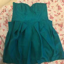 Warehouse turquoise peplum bandeau dress , size 14