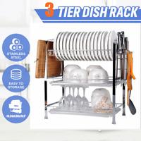 3 Tier 20'' Dish Drying Rack Drainer Stainless Steel Kitchen Organizer +