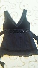 Ladies evening top size S Black. V neck front and back. Beaded. Black velvet top