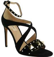 New Valentino Black Suede Rockstud Cross Strap Studded Sandals