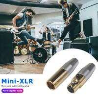 2pcs Mini 3Pin XLR Stecker Buchse Audio Plug Adapter für Mic Mikrofonkabel