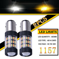 2X Switchback Dual Color BAU15S 7507 LED Bulbs For Front Turn Signal Light Bulbs