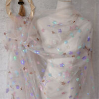 Sequins Embroidery Fabric Tulle Voile Mesh Star Dress Skirt Costume Curtain 1YD