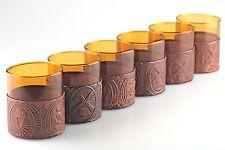 6 Vintage Whisky Gläser Tumbler berstein orange Montur Lederprägung ~ 70er H1F
