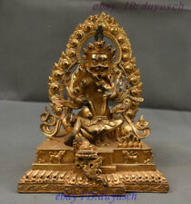 "9"" Old Tibet Buddhism Bronze Gilt Mammon God Red Jambhala Yab-Yum Buddha Statue"