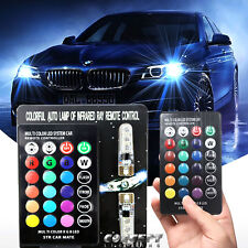 (2)Concept RGB Color change T10 W5W 5050 6SMD Car/Truck Wedge LED Bulb w/Remote