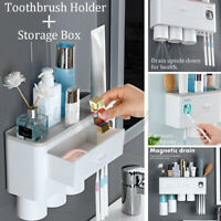 2/3Cup Magnetic Toothbrush Phone Holder Toothpaste Dispenser Wall Mounted  @