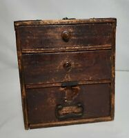 Antique Wooden Box * 3 Drawers * Lined * Carry Handle * Primitive * Rustic