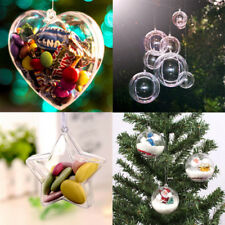 5-100PCS CLEAR PLASTIC FILLABLE 5/6/8/10CM BAUBLES HANGING HEAT STAR SHAPED XMAS