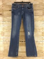 American Eagle Stretch Boot Jeans Womens Size 8 Reg Distressed Flap Pocket