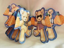"Vintage Halloween Masked Teddy Bears & Pumpkin Paper Garland 3"" x 3 1/2"" x 72"""