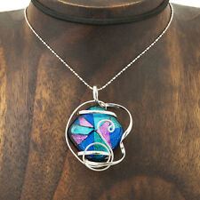 Artisan Hand Wrapped Wire Dichroic Glass Pendant Taxco Mexico