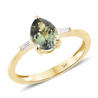 Rare 1.05Ct AA Green Tanzanite Pear & Baguette Diamond 9K Y Gold Ring Size M/6