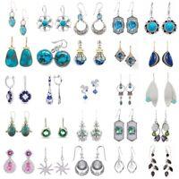 Boho 925 Silver Turquoise Emerald Ear Hook Women Jewelry Dangle Drop Earrings