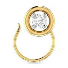 Beautiful 14K Yellow Gold Over Round Cz Circle Solitaire Nose Pin Ring Daily Use
