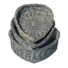 Heart Shape White Washed Wicker Easter Wedding Xmas Hamper Storage Gift Basket Grey Small 24x26x6cm
