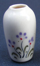 1:12 Scale Cream & Purple Ceramic Vase 3.5cm Tumdee Dolls House Ornament Crp5
