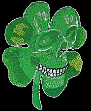 Irish Pirate Skull Clover Leaf Army Biker Embroidered Iron On Shirt Badge Patch